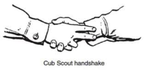 When you shake hands, use your right hand, Put the first fingers along the inside of. your friend's wrist~This means that you are brothers in Cub Scouting and that both of. you help other people and obey the Law of the Pack.